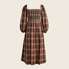 J.Crew: Smocked Puff-sleeve Dress In Friday Plaid For Women Plaid Outfits, Dress Outfits, Jumpsuit Dress, Fashion Branding, Smocking, Nice Dresses, What To Wear, Cold Shoulder Dress, Clothes For Women