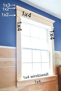 How to Build DIY Fancy Window Trim the Lazy Girl WayMake your builder grade windows pop with this budget savvy window trim project! Create a craftsman look with this super simple tutorial.How to Install Window Trim Craftsman Window Trim, Interior Window Trim, Interior Shutters, Farmhouse Trim, Farmhouse Windows, Farmhouse Ideas, Farmhouse Interior Doors, White Farmhouse, Modern Farmhouse