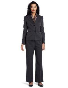 Evan Picone Women's Herringbone Stripe Peak Collar Pant Suit