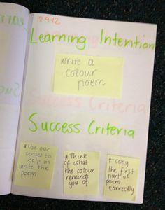 Learning Intention & Success Criteria in workbooks 2012 Learning Targets, Learning Goals, Learning Objectives, Play Based Learning, Education And Literacy, Character Education, Health Education, Physical Education, Writing Rubrics