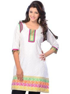 Stylish Look Party Wear White Color Designer #CasualKurti