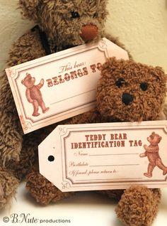 Free Printable Vintage Teddy Bear Tags and Teddy Bear Party Ideas