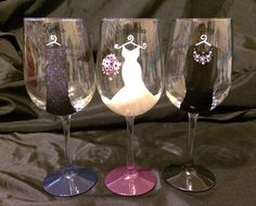 3 Bridal Party Glasses by thepaintedflower on Etsy