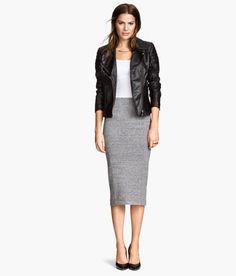 Everyday Black Pencil Skirt, Jersey Pencil Skirt, Elastic Waist ...