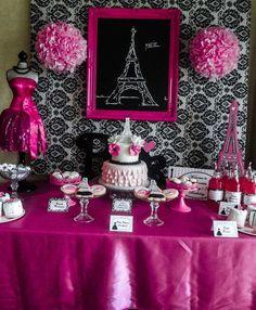 Black Hot Pink White Birthday Party Ideas Pink black Sweet