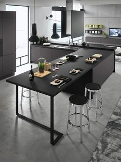 Cucina design con isola Seven 04 Luxury Kitchen Design, Best Kitchen Designs, Luxury Kitchens, Black Kitchens, Cool Kitchens, Fitted Kitchens, Black Kitchen Decor, Home Decor Kitchen, Kitchen Interior