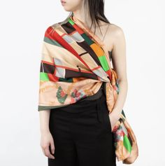 Smart, bold, and stylized, this scarf features square panels of vibrant colors that are mesmerizing to the eye. Belts For Women, Clothes For Women, Spanish Men, Japan Woman, Women's Briefs, German Women, Italian Women, Evening Dresses, Vibrant Colors