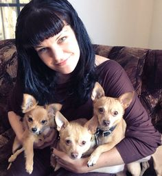 Pauley Perrette & her rescue dogs