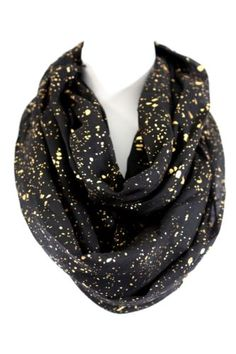 Black-Metallic-Gold-Foil-Specks-Thick-Long-Wide-Infinity-Scarf-Boutique-BNWT