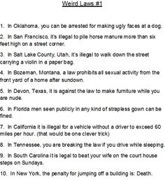 Tennessee funny laws
