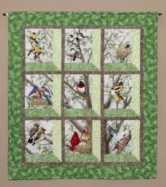 Quilted and Pieced Wall Hanging, Attic Window, Birds in Tree from MiniMade on Etsy. Lap Quilts, Panel Quilts, Small Quilts, Mini Quilts, Quilting Projects, Quilting Designs, Sewing Projects, Attic Window Quilts, Bird Applique