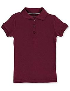 French Toast Big Girls' S/S Fitted Knit Polo with Picot Collar - burgundy, Polo Tees, Polo Shirt, Latest Fashion Trends, Different Styles, Little Girls, French Toast, Kids Outfits, Girl Fashion, Burgundy