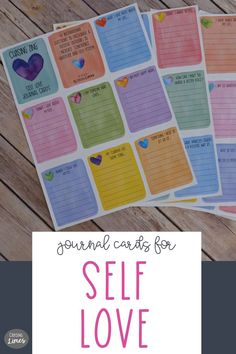 Self Love Printable Journal Cards Love Journal, Journal Cards, Increase Confidence, Therapy Journal, Writing Lines, Positive Mindset, Smash Book, Writing Prompts, Self Care