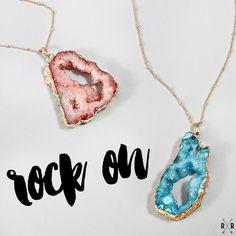 natural druzy pendant necklaces | pink + turquoise | ShopRiffraff.com