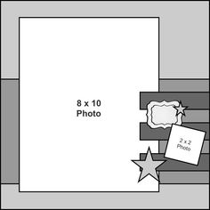 single page 2 photo scrapbook sketch / layout  8x10 photo