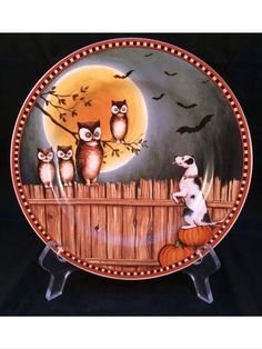 david carter brown pumpkin hollow dog fence bats owls halloween decorative plate