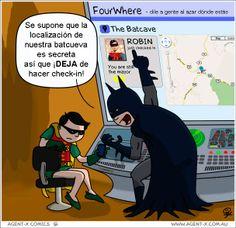 Es muy duro ser Batman y no poder hacer check-in en muchas #RedesSociales para mantener en secreto su centro de operaciones. Parece ser que el más joven de los súper héroes no se puede resistir al #SocialMedia.