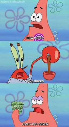 """O.K. then."" said Mr. Krabs ""Patrick Star you are one lucky man!"" exclaimed Patrick."
