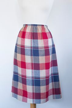 "NEW LISTING Vintage 1980s ""Madison"" Tan, Burgandy, Navy Blue & White Plaid Pencil Skirt w Pockets Womens size 12 by MeGustaVintage on Etsy"