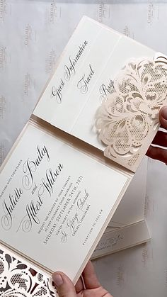 Wedding Invitations With Lace, Diy Wedding Cards, Indian Wedding Invitation Cards, Lace Invitations, Wedding Anniversary Invitations, Wedding Invitation Card Design, Indian Wedding Cards, Laser Cut Invitation, Wedding Invitation Inspiration