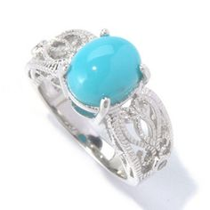 Sleeping Beauty Turquoise. A rare treasure....size 5 Gem Insider Sterling Silver 10 x 8mm Oval Sleeping Beauty Turquoise Ring