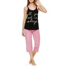 Sleeptease Sleep Tank and Capri Set ($25) ❤ liked on Polyvore featuring intimates, sleepwear, pajamas, pink print, polka dot pajamas, polka dot pjs, polka dot sleepwear, pink pajamas and pink sleepwear