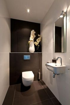 Space Saving Toilet Design for Small Bathroom - Home to Z Space Saving Toilet, Small Toilet Room, Guest Toilet, Downstairs Toilet, Basement Bathroom, Bathroom Layout, Modern Bathroom Design, Bathroom Interior, Bathroom Ideas