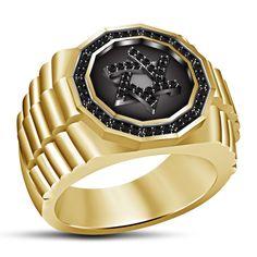 Round Black CZ 14k Yellow Gold GP 925 Silver Jewish David Star Ring For Men's #JewishDavidStar