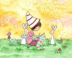 Brunette Girl with Bunnies and Mushrooms - KNITTING GIRL - 5x7 Art Print Children - Amariah Rauscher