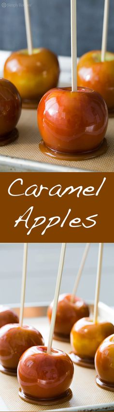 Caramel Apples ~ Traditional caramel apples recipe. Apples on a stick, dipped in delicious caramel sauce. Perfect for Halloween! ~ SimplyRecipes.com