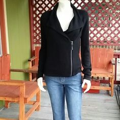 Beautiful Black Zip Up Jacket To cute zips , in the front. rayon and nylon. WPo en once. Jackets & Coats