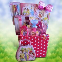Disney Princess Accessory Gift Basket Perfect Birthday, Get Well Gift Baskets for Girls Under 10 Get Well Gift Baskets, Girl Gift Baskets, Birthday Gift Baskets, Get Well Gifts, Pre Made Easter Baskets, Craft Gifts, Gifts For Kids, Holiday Gifts, Christmas Gifts