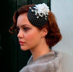 Bridal cocktail Hat,Rockabilly fascinator,Hair accessory White velvet flower and Birdcage veiling. Black, white or custom colour