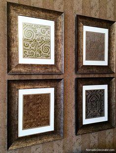 Nomadic Decorator   DIY: Framed Fortuny Fabrics   http://nomadicdecorator.com