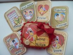 Mini love notes in an altered tin using images from the Gecko Galz