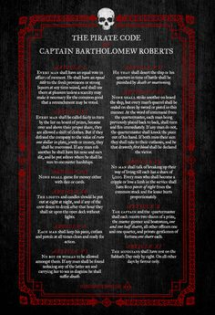 """The Pirate Code of Captain Bartholomew Roberts"""
