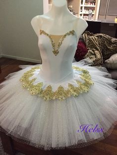 Ballet. Tutu. Gold.  White.  Stretch. Made  by Helss.