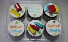 Homemade Eggless 3D customized, personalized, handcrafted, designer, fondant Exam theme cupcakes for boys at Baner, Pune