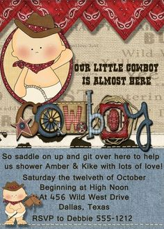 Deb's Party Designs - Western Baby Boy Baby Shower Invitation, $1.00 (http://www.debspartydesigns.com/western-baby-boy-baby-shower-invitation/)