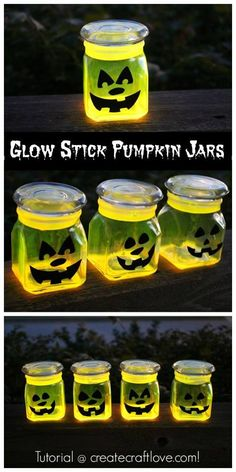 GLOW STICK PUMPKIN JARS Glow sticks {I found mine at Michaels} Cutting board Knife Oven mitts Plastic cup Little glass jars Black adhesive viny E6000 glue SEE FULL INSTRUCTIONS: https://www.facebook.com/photo.php?fbid=10153638142436667&set=pcb.1632333480388577&type=1&theater