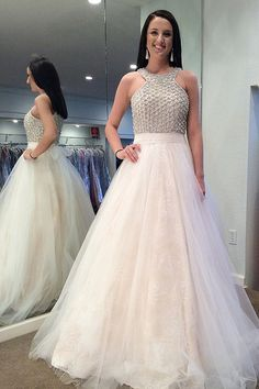 unique light champagne tulle prom dresses, modest beading bodice party dresses, elegant jewel long evening gowns