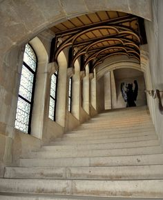 Pierrefonds Castle - Camelot staircase interior by MorgainePendragon.deviantart.com on @DeviantArt