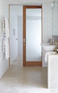 Pocket Door Contemporary Bathroom By Austral Masonry Timber Frosted Glass Door