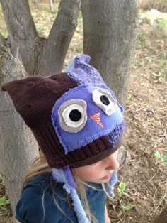 Children's Upcycled Owl Hat on Etsy, $25.00