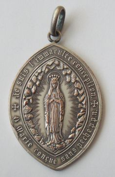 Rare Old Religious Medal Virgin Mary by religiousmedals on Etsy