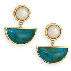 Lizzie Fortunato Tortola Mother-Of-Pearl & Chrysocolla Geometric Drop... (€255) ❤ liked on Polyvore featuring jewelry, earrings, apparel & accessories, mother of pearl drop earrings, post drop earrings, lizzie fortunato jewelry, geometric jewelry and lizzie fortunato