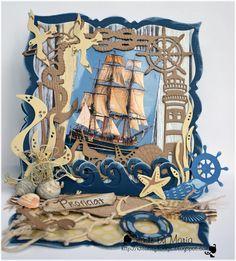 Fancy Fold Cards, Folded Cards, Handmade Birthday Cards, Happy Birthday Cards, Nautical Cards, Beach Cards, Mermaid Beach, Fathers Day Cards, Marianne Design