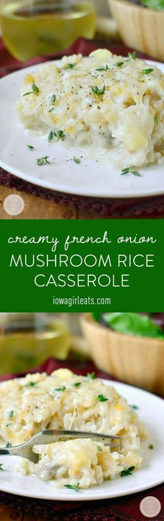 Creamy French Onion Mushroom Rice Casserole is a warming and delicious meatless casserole that will fill your house with the savory scent of French Onion Soup!  | iowagirleats.com