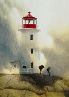 Rainy Day At Peggy's Lighthouse, Nova Scotia, Canada
