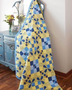 Two-color quilts never go out of style and this appliqué quilt pattern called Picnic in Provence, by Joanie Holton and Melanie Greseth, is no exception! A favorite color combination of blue and yellow and Honey Bee quilt blocks in an on-point setting make this quilt so appealing and give it graphic interest. Get the quilt kit while supplies last!